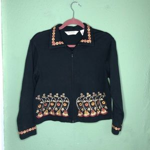 Bechamel Petites Zip Up Embroidered Cardigan Small